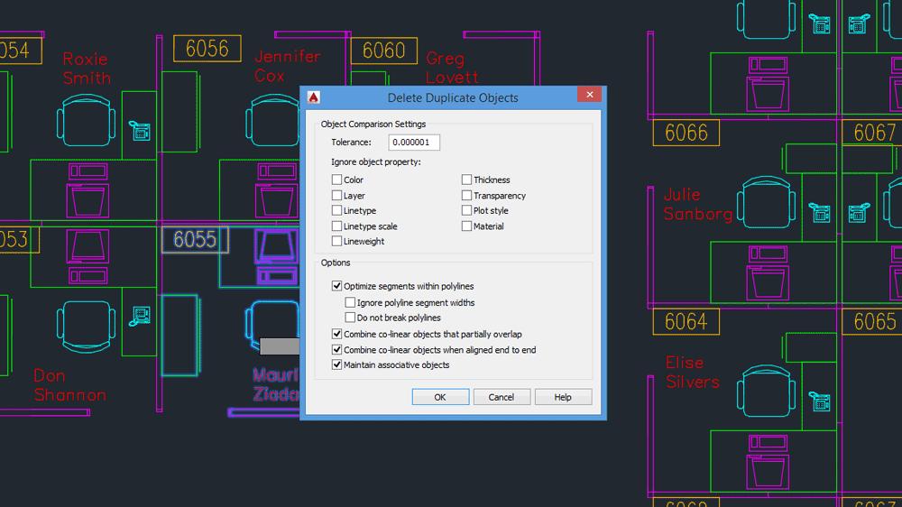 Comandi AutoCAD: la finestra di dialogo del comando OVERKILL.