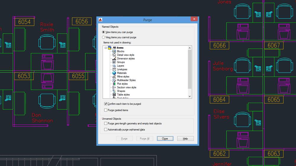 Comandi AutoCAD: la finestra di dialogo del comando PURGE.