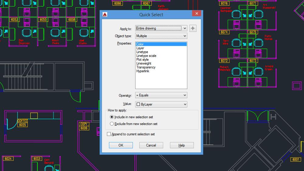 Comandi AutoCAD: la finestra di dialogo di QSELECT