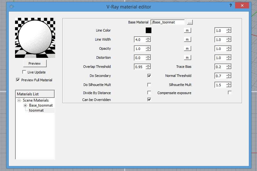 La finestra di controllo del Toon Material in V-Ray