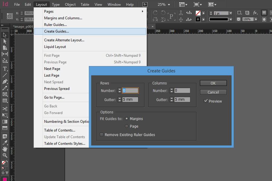 """Lo strumento """"Crea Guide"""" di Adobe InDesign"""