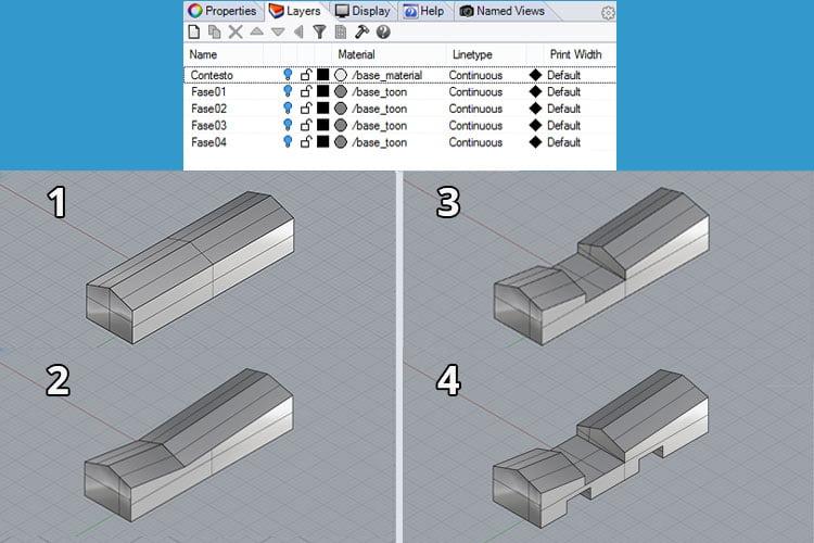 Modellazione di una sequenza di diagrammi di architetttura con Rhinoceros