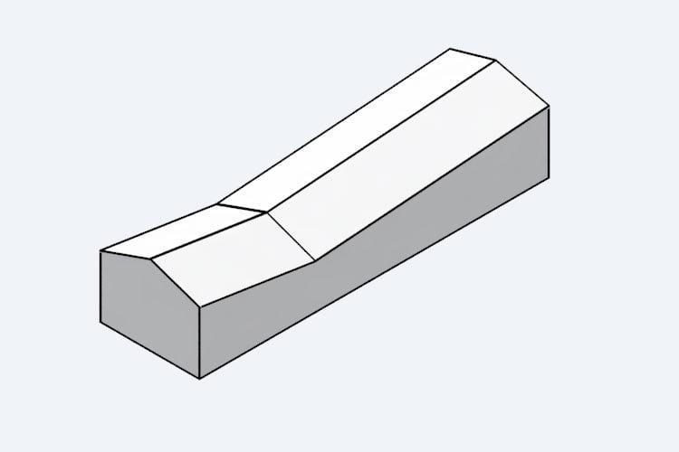 Un esempio di diagramma di architettura usando un V-Ray toon material (senza Silhouette Multiplier)