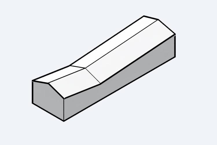 Un esempio di diagramma di architettura usando un V-Ray toon material (con il Silhouette Multiplier attivo)