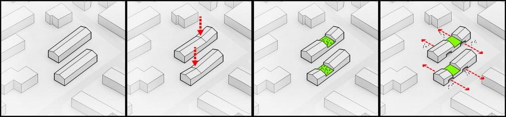 Sequenza di diagrammi di architettura realizzati con Adobe Illustrator