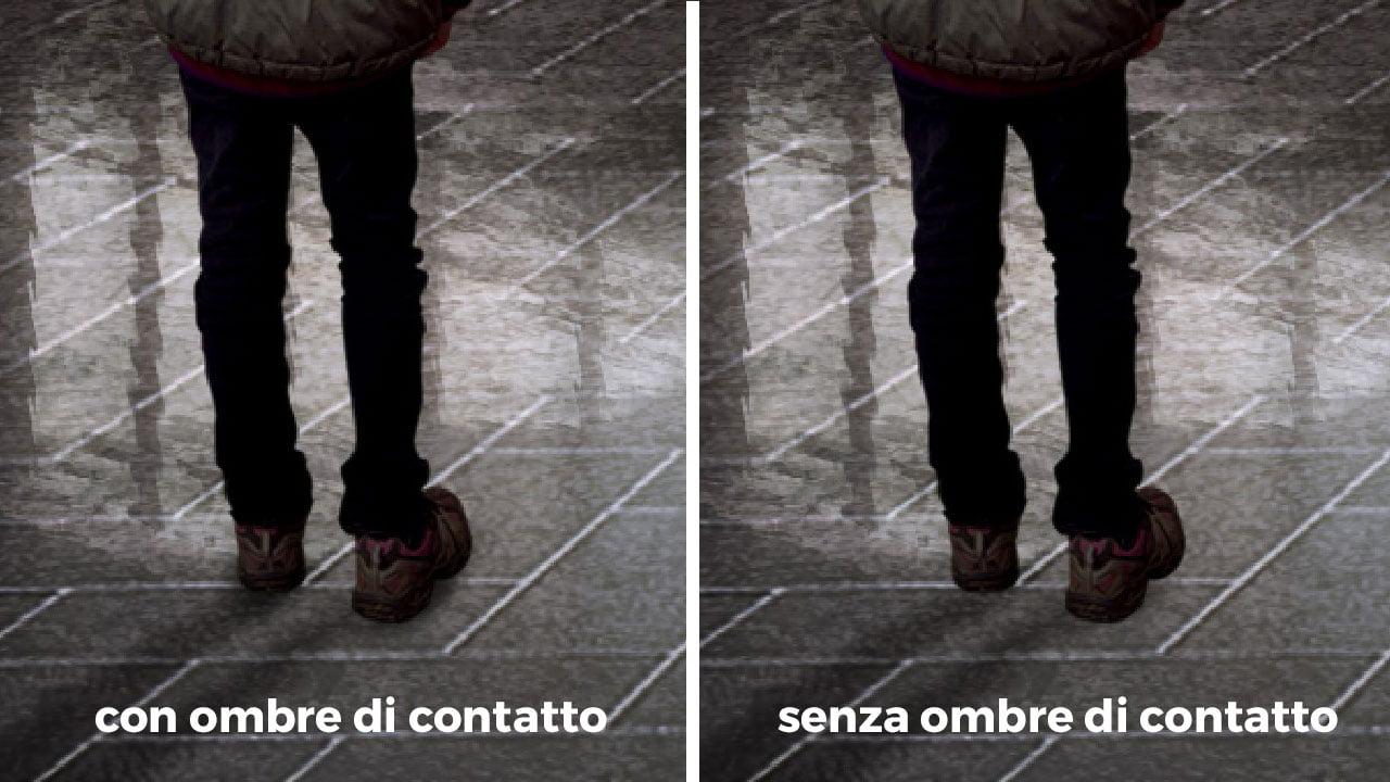 Confronto tra due immagini: persone scontornate con e senza ombre di contatto dipinte.