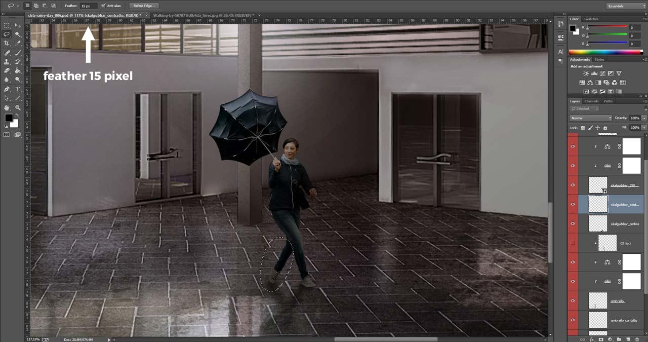 Selezione di aree per una sfocatura di movimento selettiva su una persona scontornata.