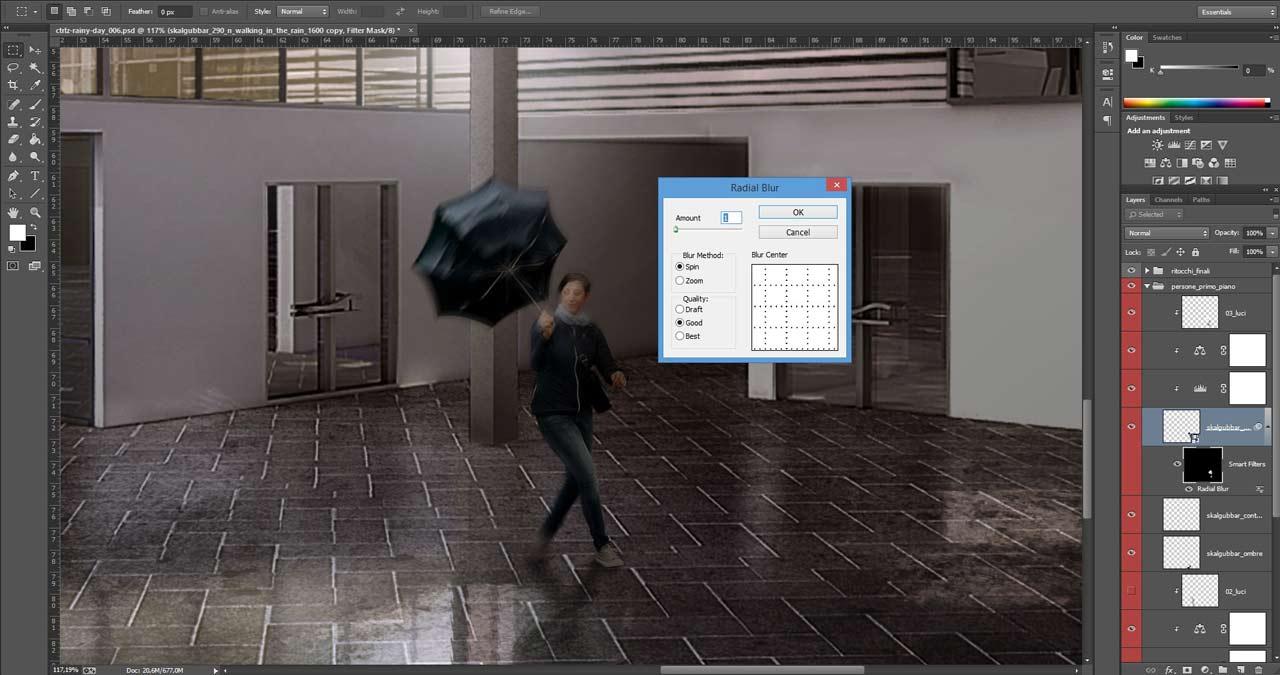 Applicazione del filtro Radial Blur per simulare una sfocatura di movimento.