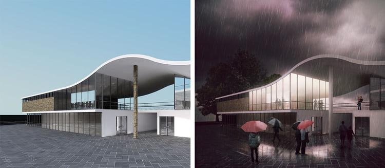 Post-produzione in Photoshop di un render architettonico: prima e dopo.