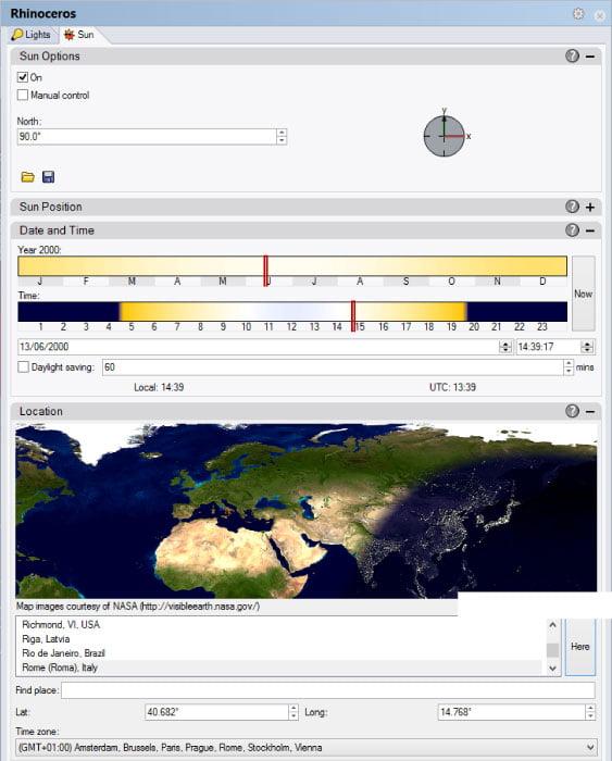 La finestra di dialogo del tool Rhino Sun.