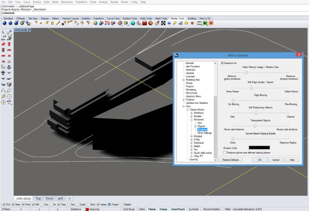 Pannello delle opzioni di Rhinoceros 5 - scheda Shadows-