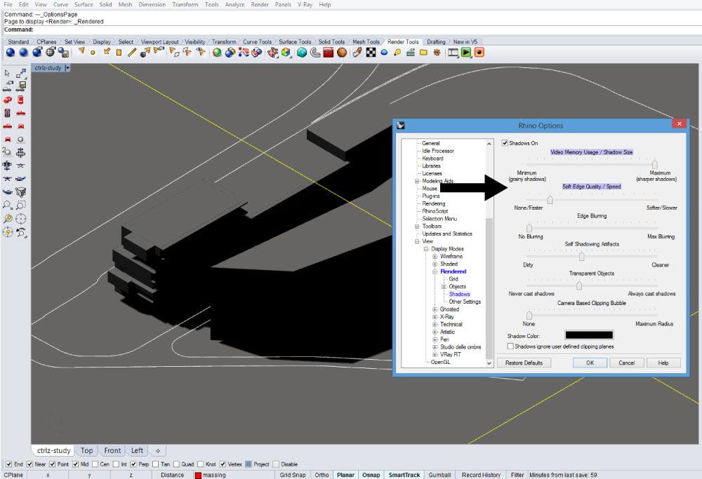 Parametro Softer Edge Quality nelle opzioni di visualizzazione delle ombre di Rhinoceros.