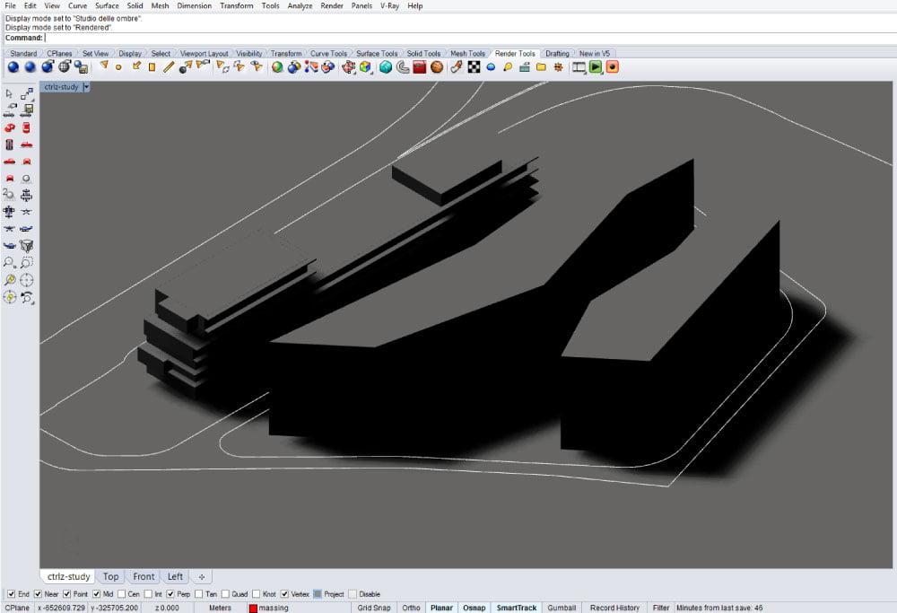 Stile di visualizzazione Rendered in Rhinoceros 5.