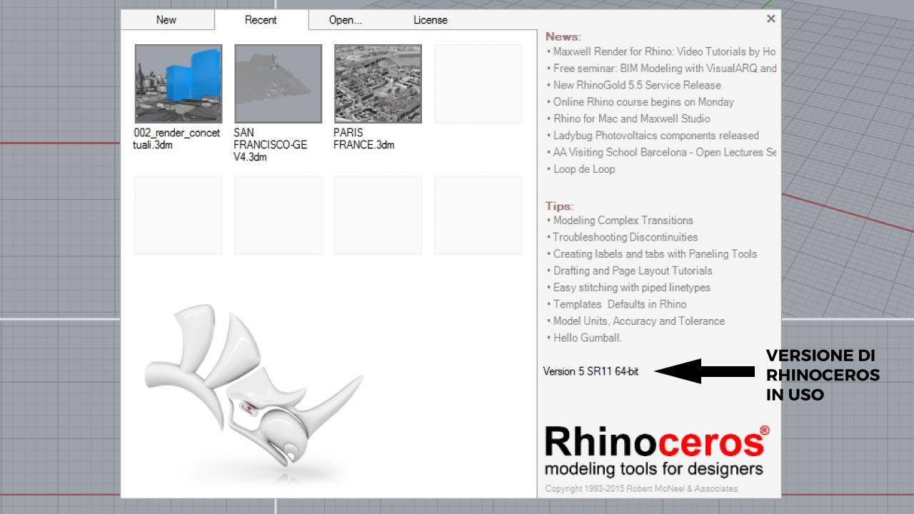 Come verificare la versione in uso di Rhinoceros.