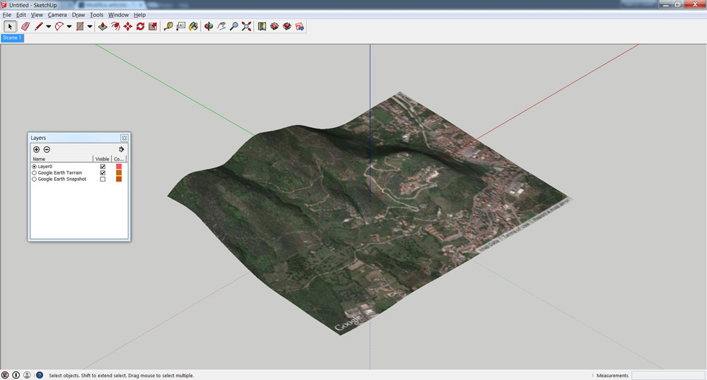 Superficie topografica di Google Earth in SketchUp