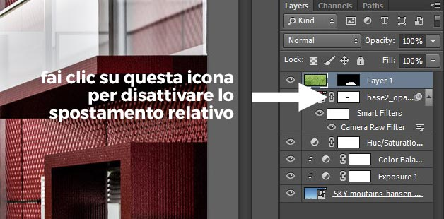 Disattivare lo spostamento relativo in Photoshop.