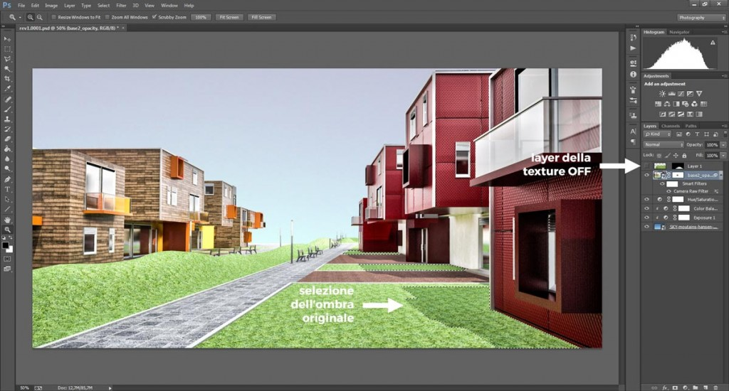 Una selezione rapida delle ombre sulla texture d'erba in Photoshop