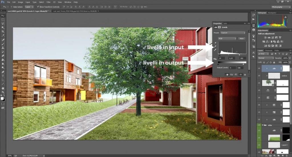 Regolazioni tonali in Photoshop applicate agli alberi scontornati.