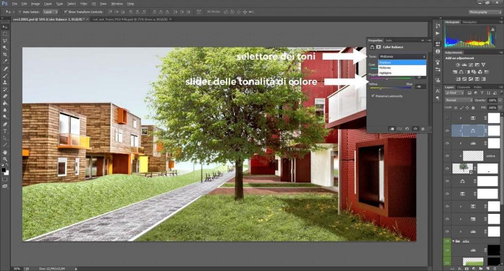 Bilanciamento di colori in Photoshop applicato agli alberi scontornati.