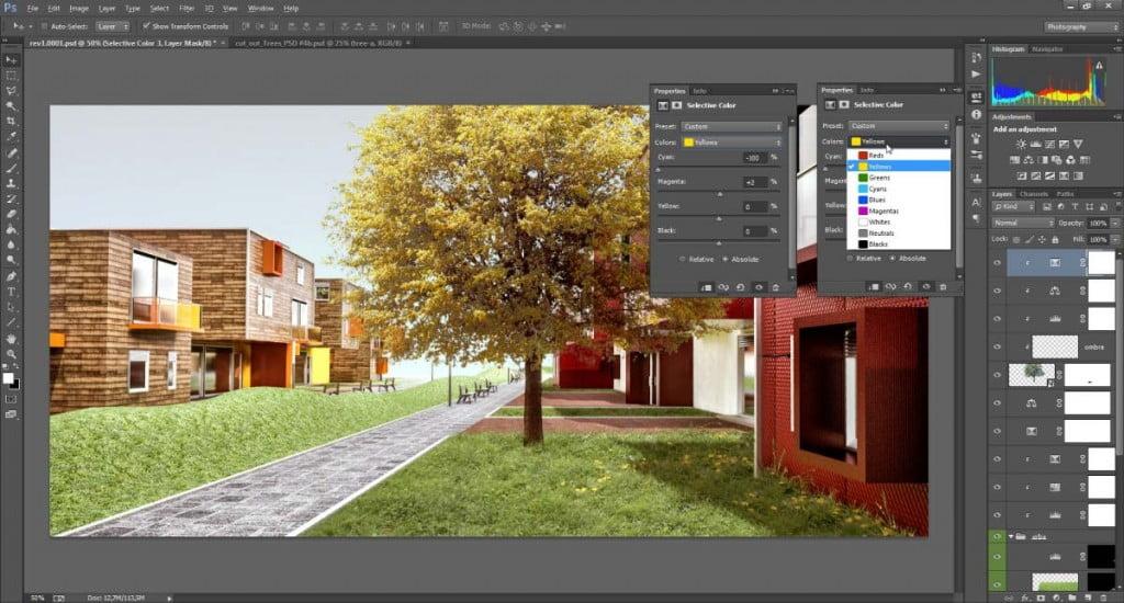 Correzione colore selettiva in Photoshop: caso studio di un albero scontornato.
