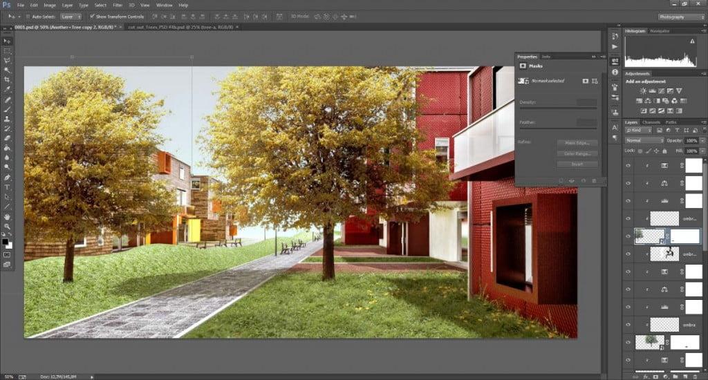 Trasformazioni geometriche applicate ad alberi scontornati in Photoshop.
