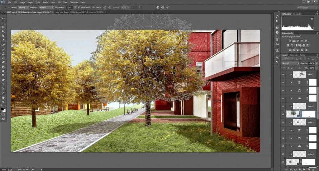 L'interfaccia dello strumento Puppet Warp di Adobe Photoshop.