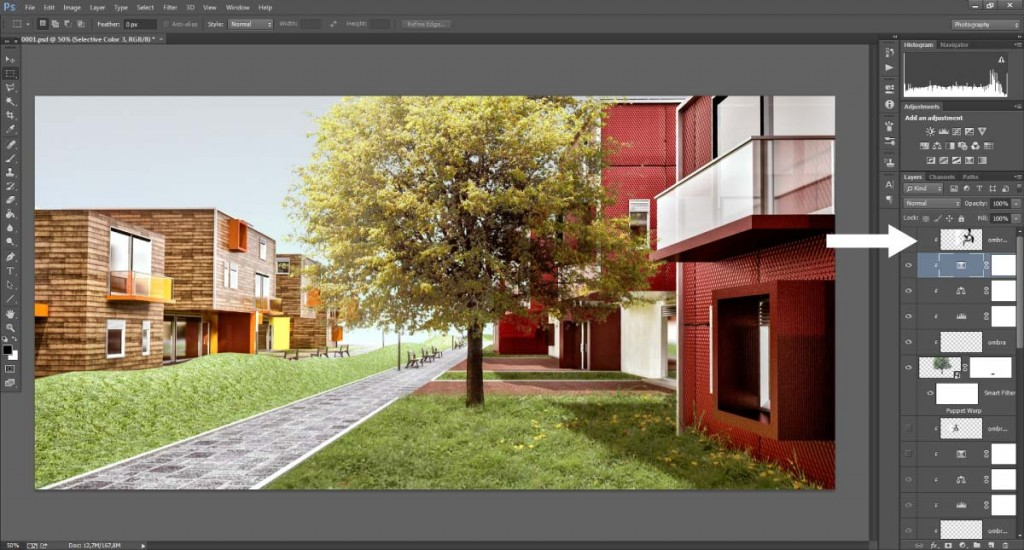Layer clipping applicato ad un livello con metodo di fusione Soft Light