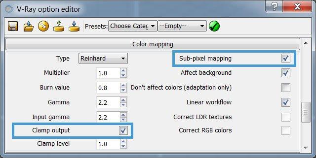 La soluzione ai puntini bianchi (speckles) in V-Ray: gli switch Sub-Pixel Mapping e Clamp Output.