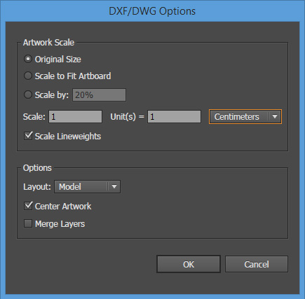 La finestra di dialogo delle opzioni di importazione di DWG in Adobe Illustrator.