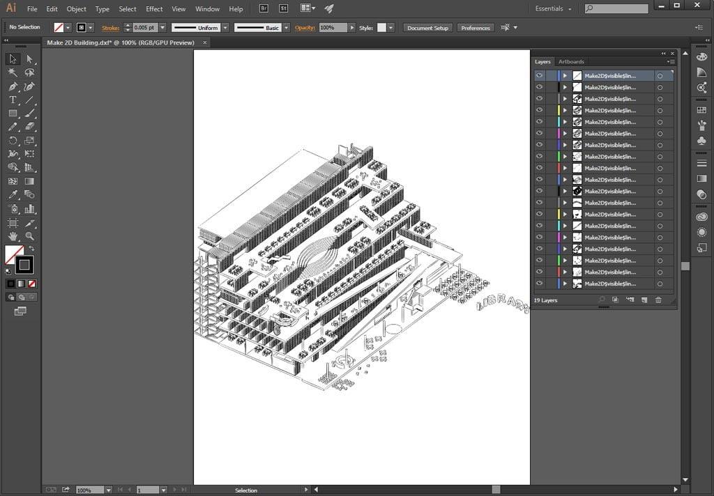 Assonometria importata da Rhino in Adobe Illustrator