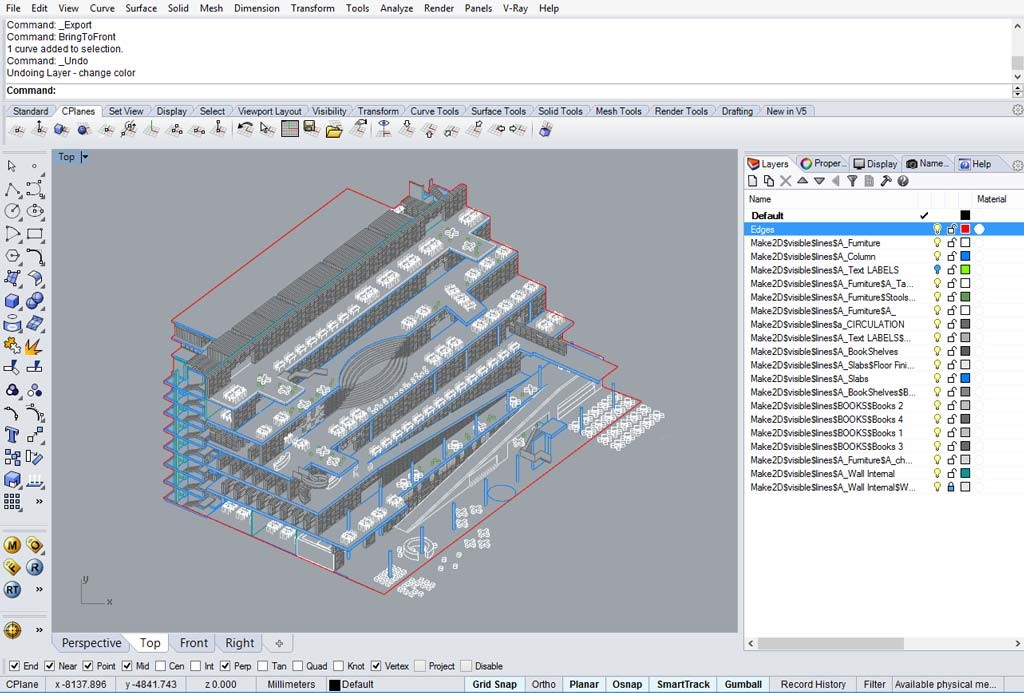 Assonometria realizzata col comando Make2D di Rhino e integrata con un layer aggiuntivo