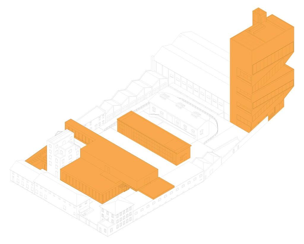 OMA, Fondazione Prada - Schema dei nuovi volumi in assonometria