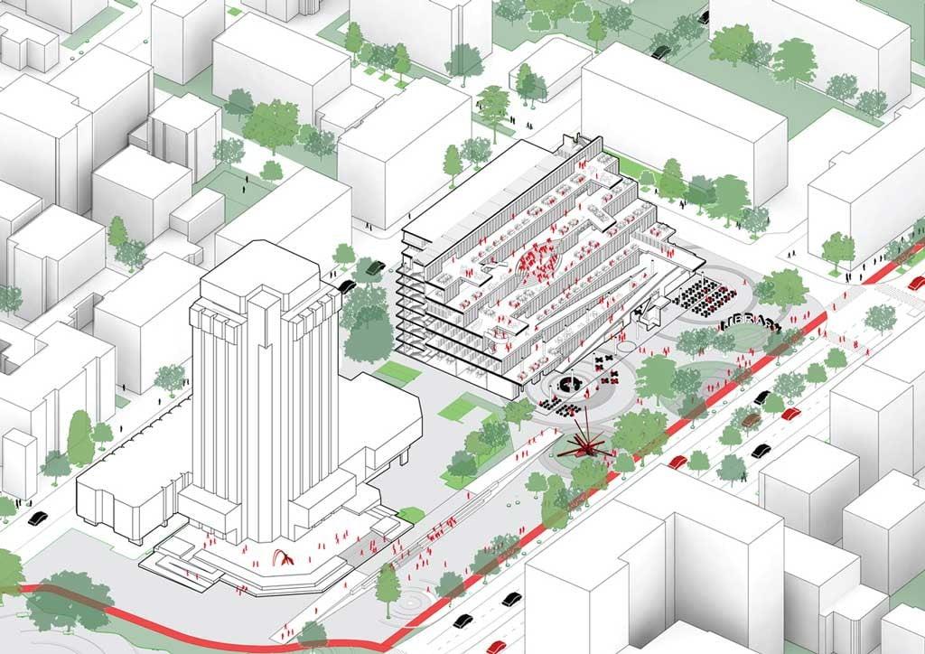 L'assonometria del progetto vincitore del concorso per la Biblioteca Regionale di Varna, di Architects for Urbanity