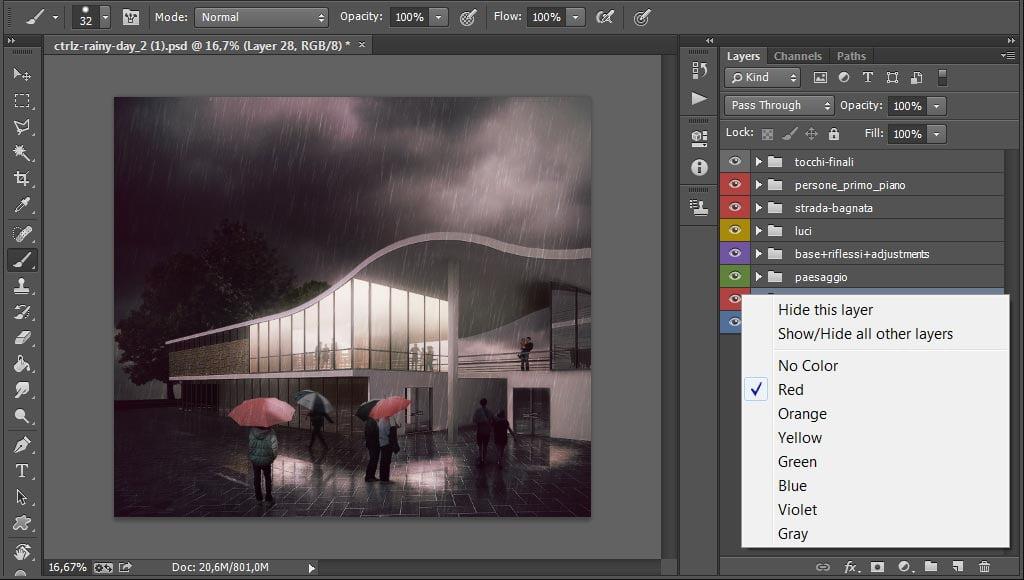 Come utilizzare i gruppi e le etichette di colore di Photoshop