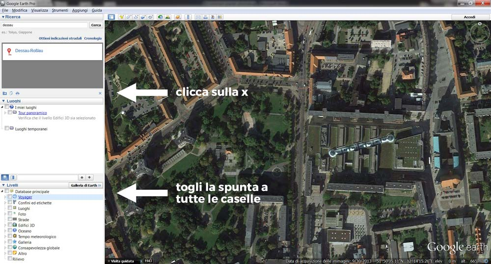 L'interfaccia di Google Earth Pro.
