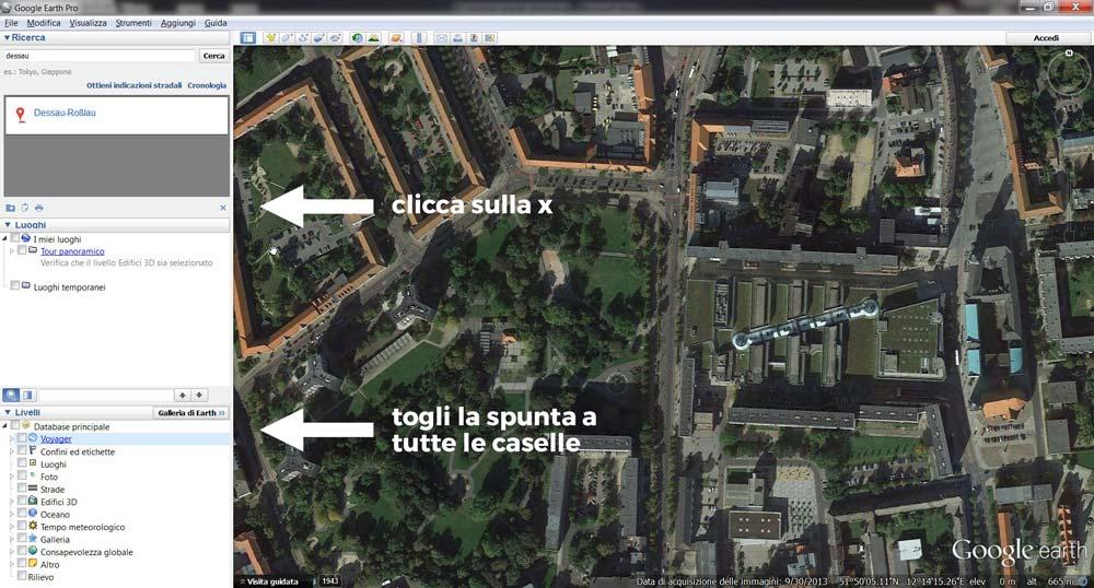 L'interfaccia di Google Earth Pro.