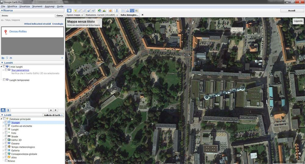 "L'interfaccia ""Salva Immagine"" di Google Earth Pro."