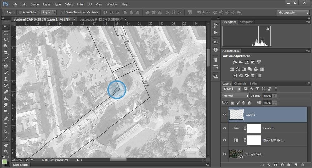 Il punto di riferimento della trasformazione di scala in Adobe Photoshop