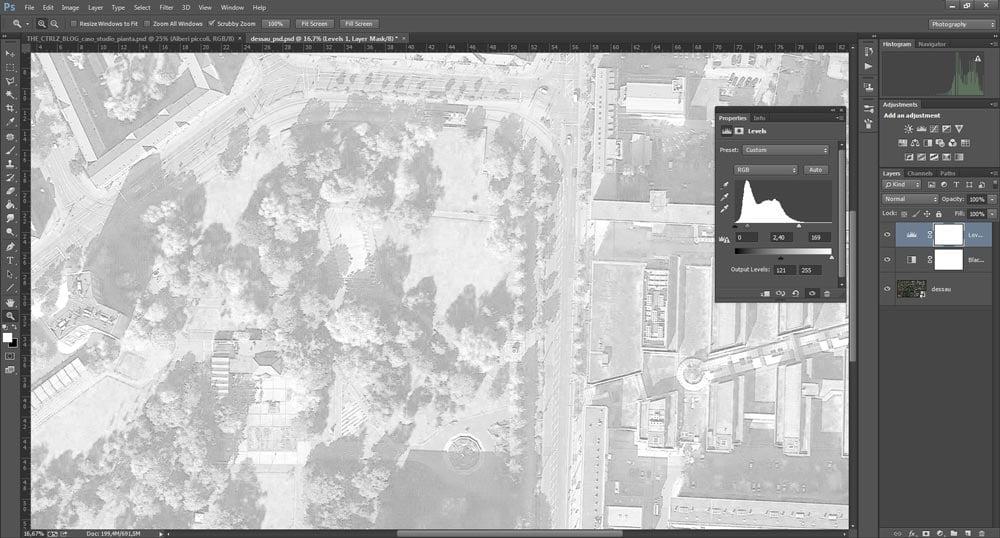 Come applicare la regolazione Levels per ottenere una fotografia aerea in filigrana.