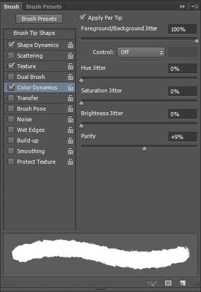 La scheda Color Dynamics dalle opzioni del tool Brush.