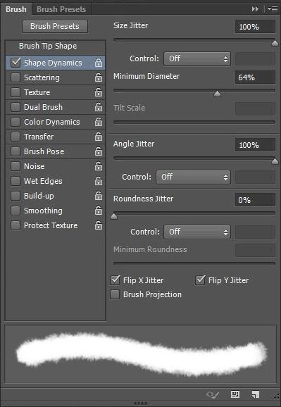 La scheda Shape Dynamics dalle opzioni del tool Brush.