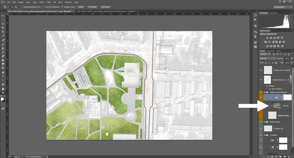 Qui ho sovrapposto un pattern grunge con metodo di fusione Multiply al riempimento delle aree pedonali.