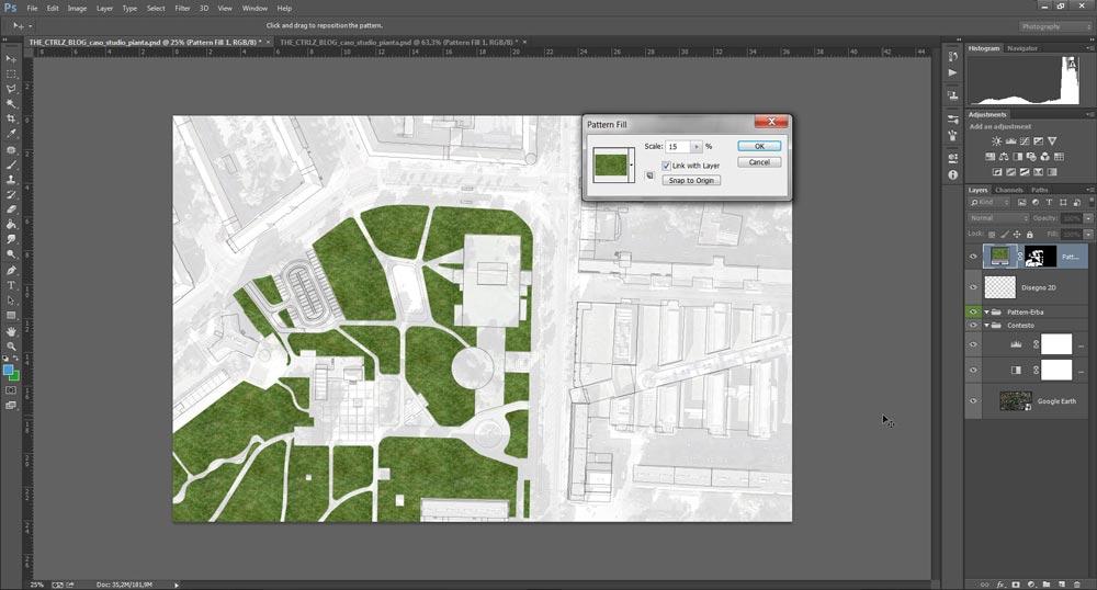 Utilizzo dello strumento Pattern Fill di Photoshop per riempir aree in un disegno 2D
