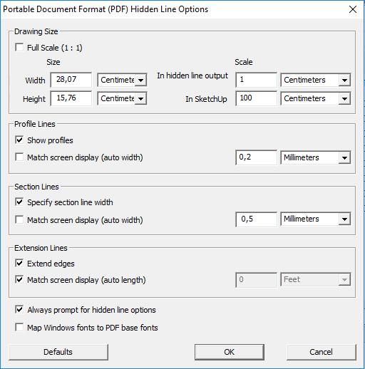 La finestra delle opzioni di esportazione PDF di SketchUp