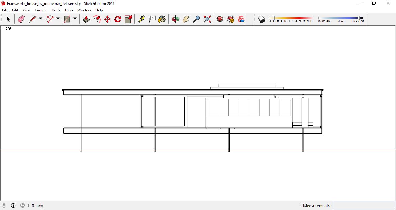 Lo stile Hidden Line applicato ad una sezione architettonica in SketchUp