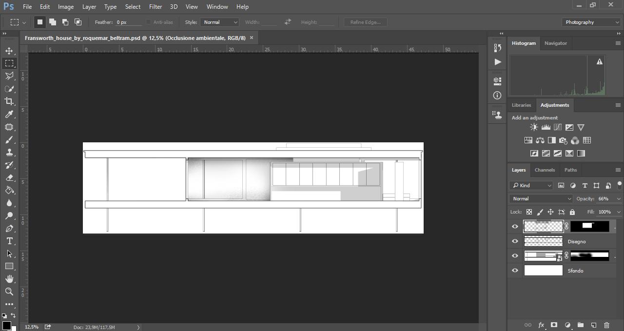 Occlusione ambientale e ombre proiettate in una sezione architettonica realizzata con Photoshop