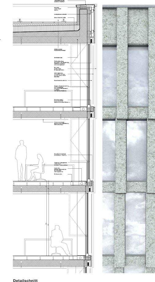 Palazzo di uffici Andreasturm. Dettaglio della facciata - David Chipperfield Architects