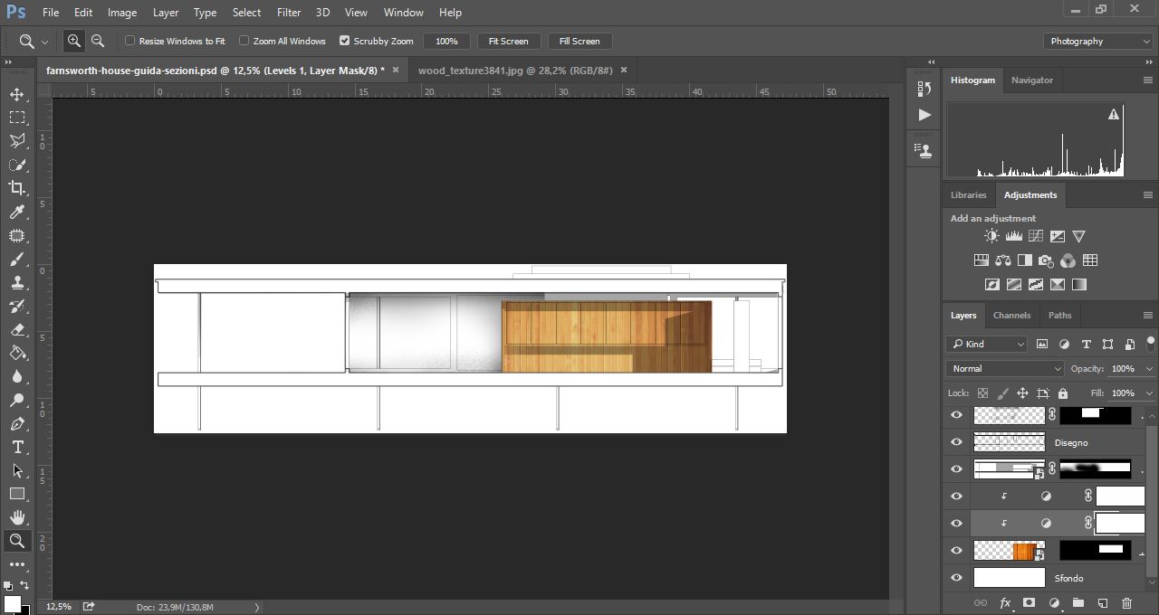 Nella texture applicata a questa sezione architettonica in Photoshop, ho usato le regolazioni Levels e Saturation per smorzare il colore eccessivamente carico.