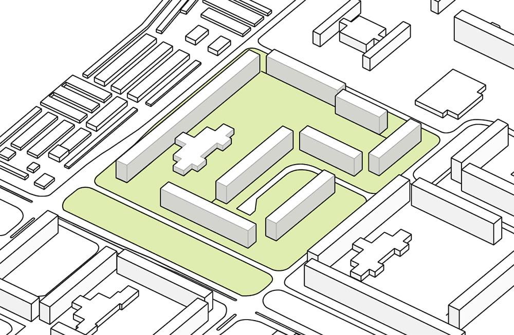 Ecco l'aspetto del mio schema funzionale architettonico dopo aver creato i riempimenti di colore con Adobe Illustrator