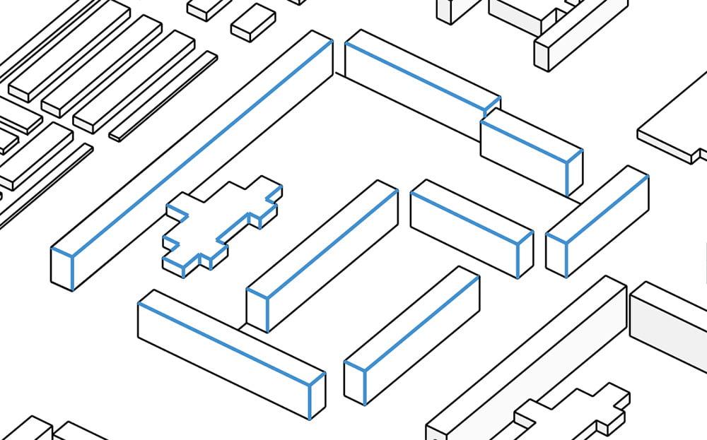 Nel file contenente i miei schemi funzionali architettonici, ho selezionato esclusivamente i bordi interni degli edifici.